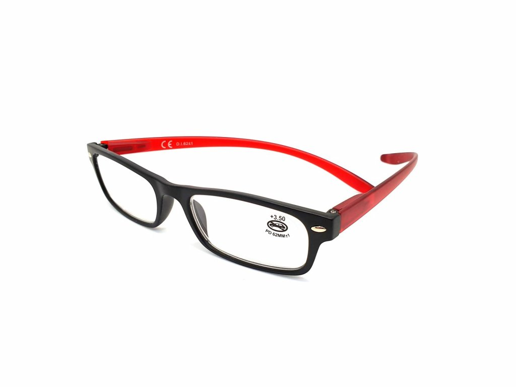 Dioptrické brýle SV2044 red/ +2,50 + šňůrka +hadřík