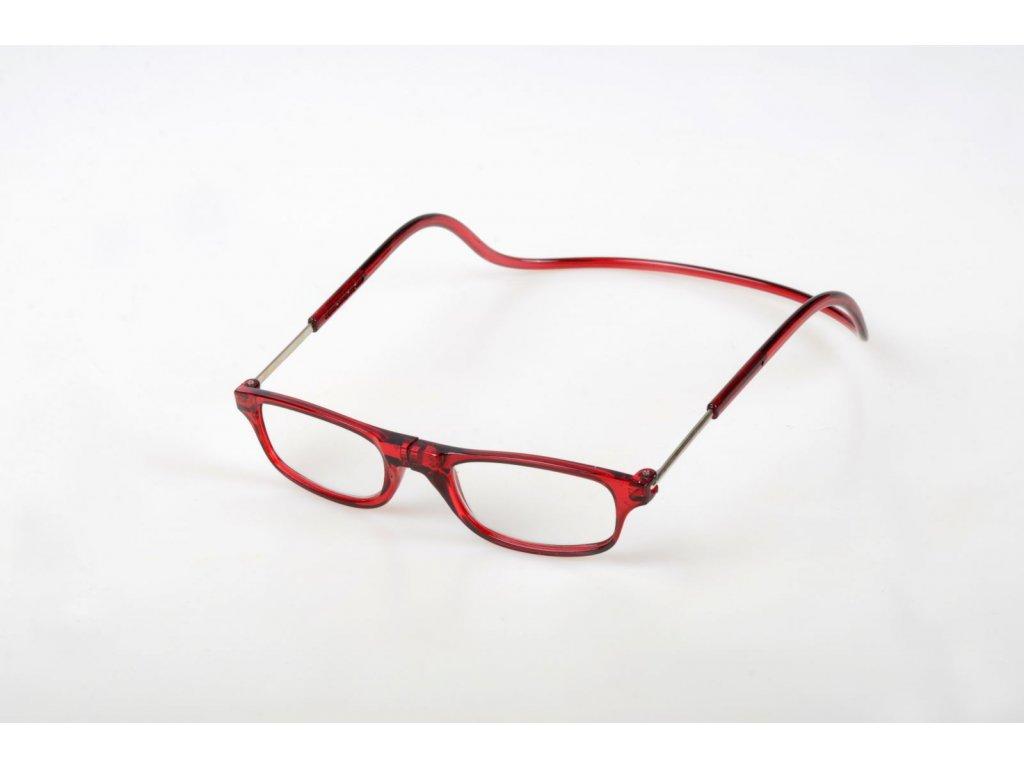 Dioptrické brýle na čtení s magnetem +1,5 - tmavočervené obruby