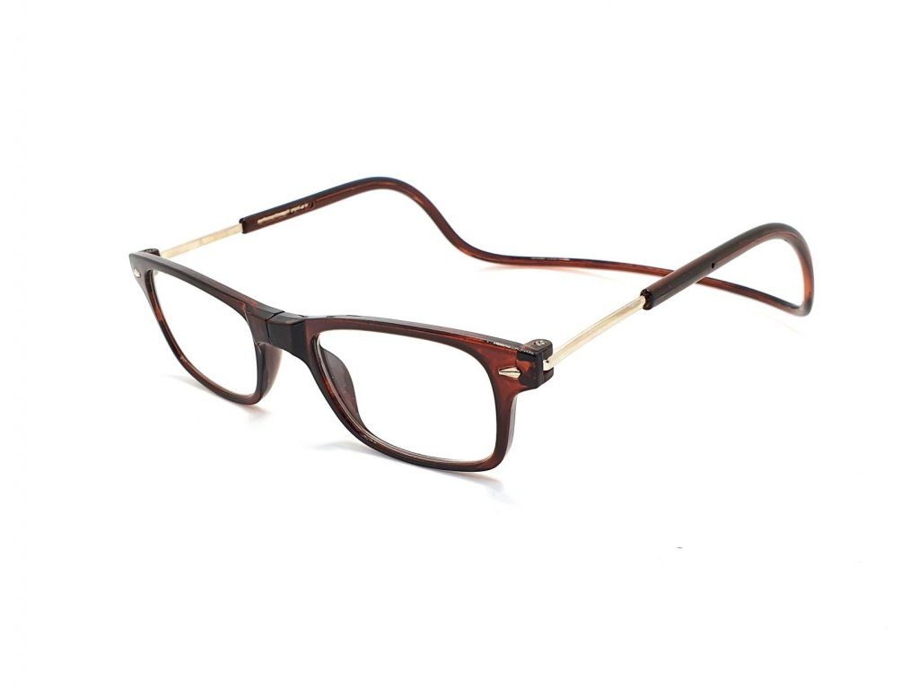 Dioptrické brýle na čtení s magnetem A015 +2,00 - hnědé obroučky