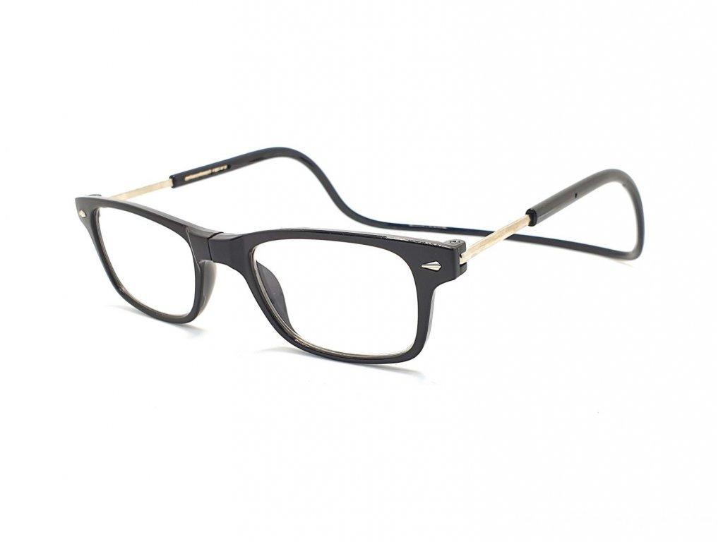 Dioptrické brýle na čtení s magnetem A015 +2,50 - černé obroučky