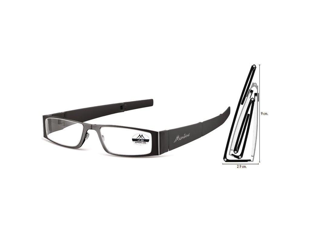 MONTANA EYEWEAR SKLÁDACÍ dioptrické brýle MR26 BLACK+2,00