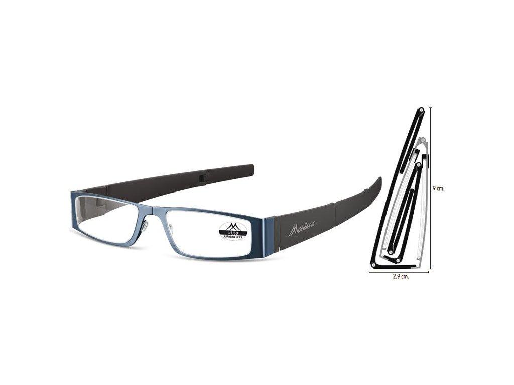 MONTANA EYEWEAR SKLÁDACÍ dioptrické brýle MR26B BLUE +3,50