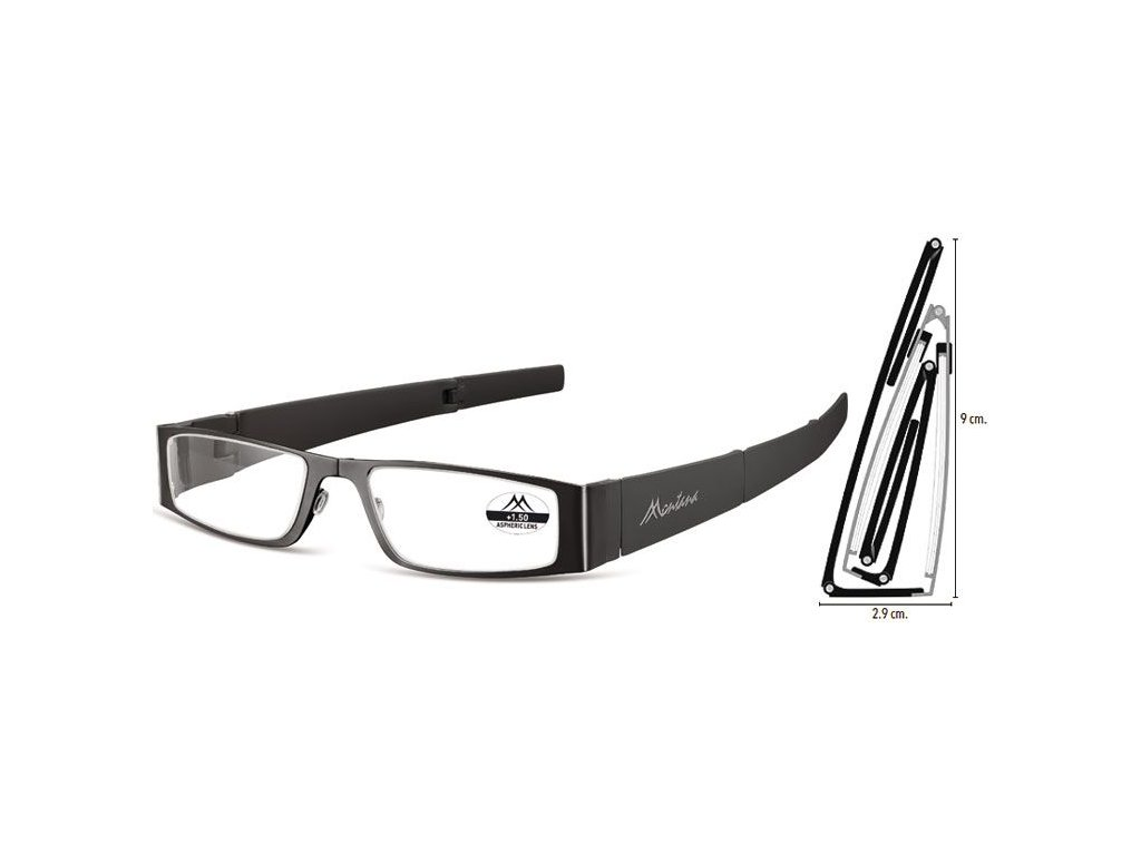 MONTANA EYEWEAR SKLÁDACÍ dioptrické brýle MR26 BLACK+1,00