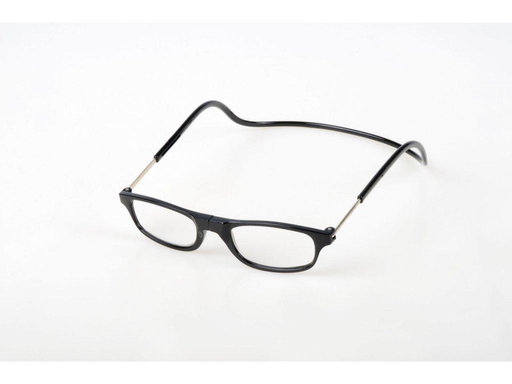 Dioptrické brýle na čtení s magnetem +1,5 - černé  obruby
