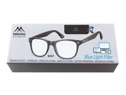 MONTANA EYEWEAR Brýle na počítač BLF BOX 67 BLACK +2,50