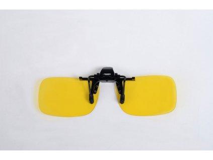 KLIP S POLARIZAČNÍ NA BRÝLE se žlutou  čočkou pro řízení do mlhy