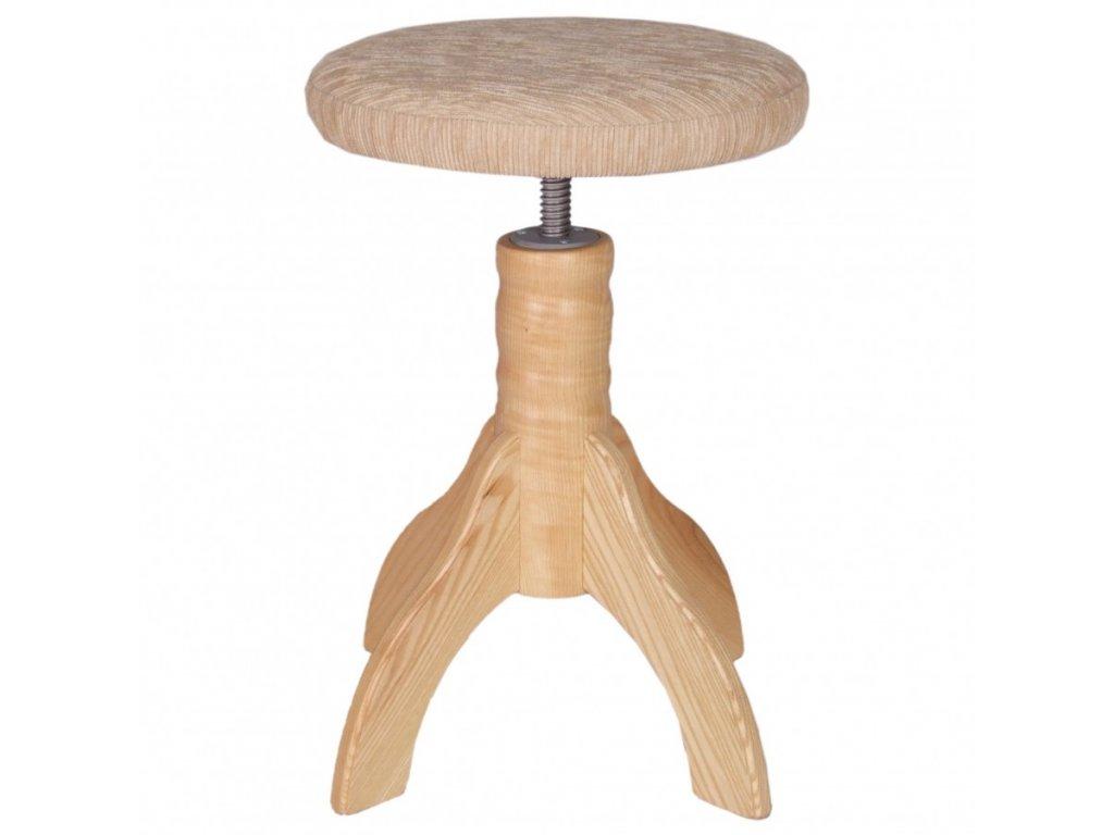 Otočná klavírní židle Skotnica, přírodní, polstr, 4 nohy