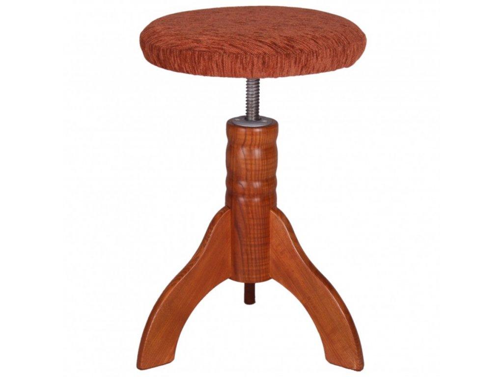 Otočná klavírní židle Skotnica,  třešeň, polstr, 4 nohy