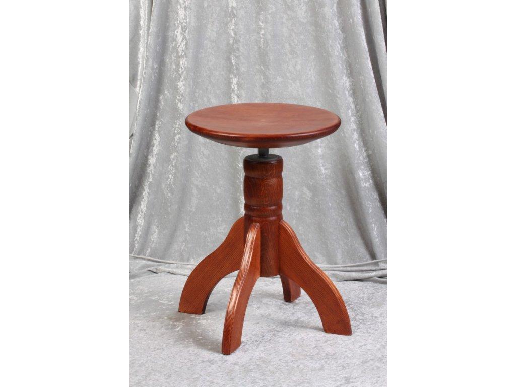 Otočná klavírní židle Skotnica, třešeň, masivní sedák, 4nohy
