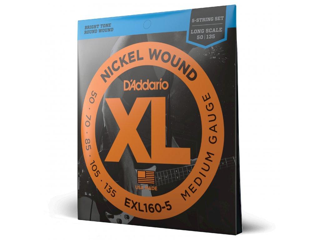 Struny na pětistrunnou basovou kytaru D´ADDARIO EXL160-5