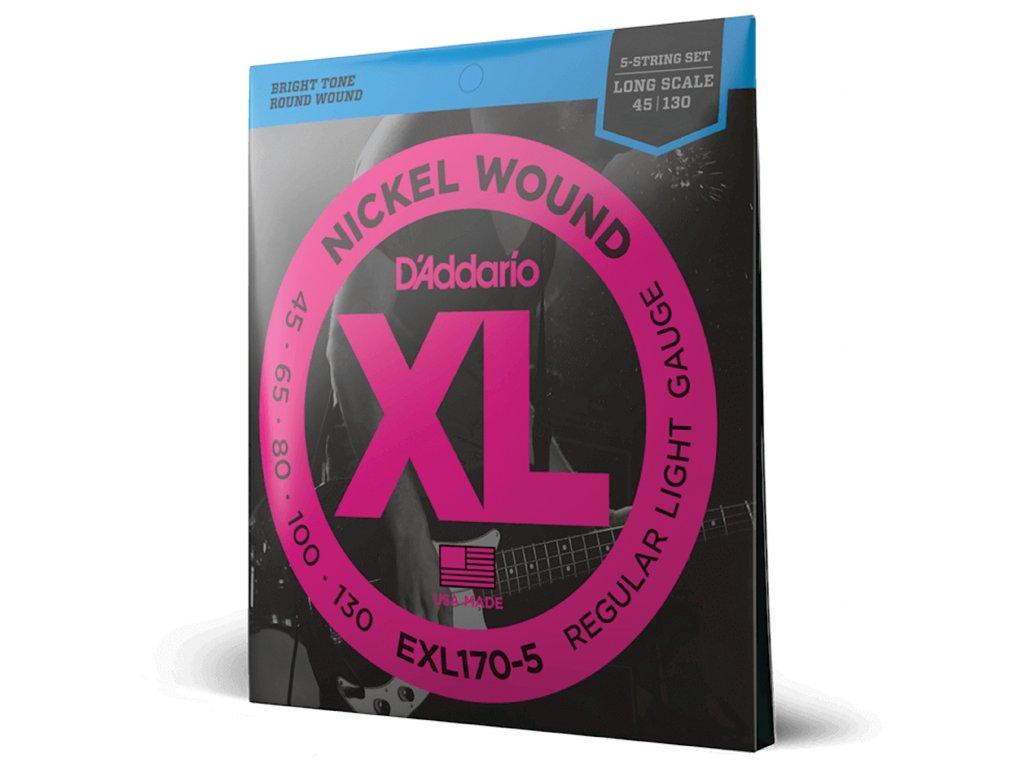 Struny na pětistrunnou basovou kytaru D´ADDARIO EXL170-5