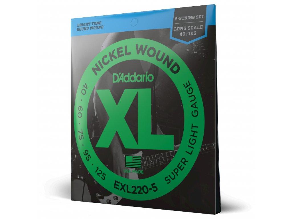 Struny na pětistrunnou basovou kytaru D´ADDARIO EXL220-5