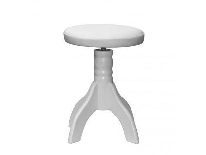 Otočná klavírní židle Skotnica, bílá, polstr, 4 nohy