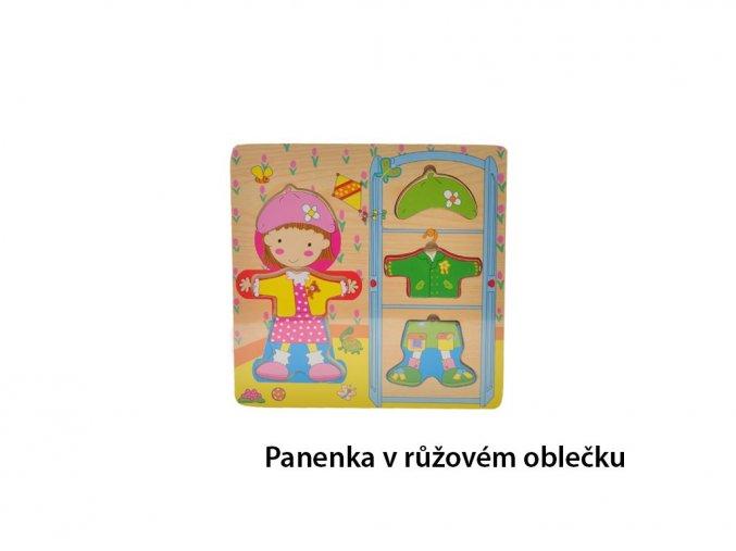 Puzzle dřevěné oblečky - panenka v růžovém oblečku - 6 ks