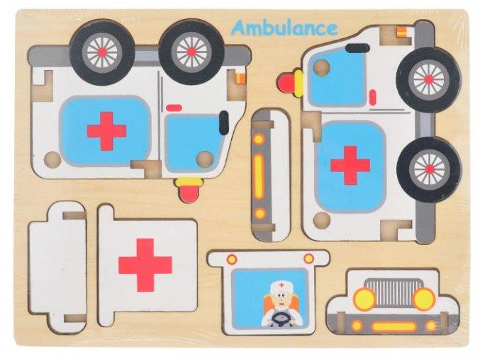 Dřevěné puzzle skládací záchránářské auta sanitka