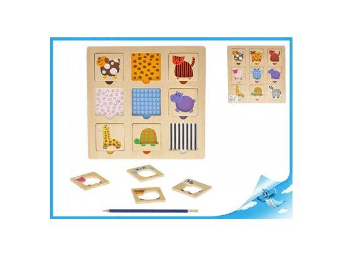 Puzzle dřevěné se zvířátky- 9 dílků