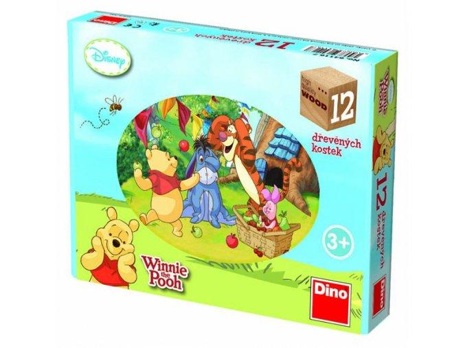 Kostky kubus Medvídek Pú dřevo 12ks v krabičce 22x17x4cm