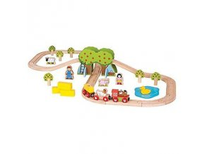 Bigjigs Rail vláčkodráha - dřevěná vláčkodráha farma