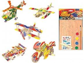 Dřevěné puzzle s motivem dopravní prostředky