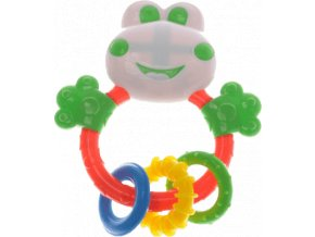 Happiness Chrastítko žabka 13x12cm s kousacími kroužky