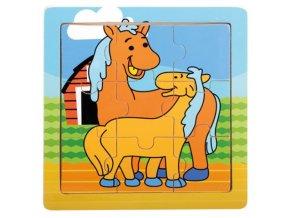 Dřevěné puzzle - Koníci
