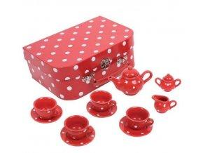 Červený puntikovaný čajový set