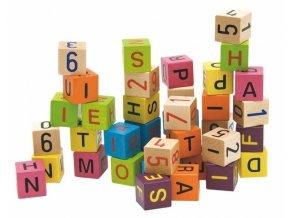 Barevné kostky s písmeny a čísly,40ks