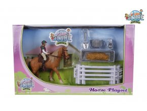 Globe Koník s jezdcem 13cm s doplňky v krabičce