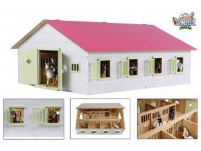 Stáj pro koně dřevěná 1:24 růžová v krabičce