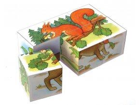 Kostky kubus Lesní zvířátka dřevo 6ks v krabičce