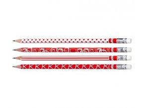 Tužka s pryží Kores,červeno-bílá