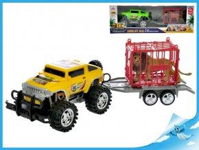 Auto terénní s vozíkem 39cm na setrvačník s klecí a lvem