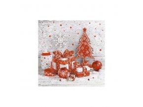 Ubrousky vánoční 3vr. červeno stříbrný