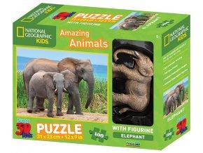 m puzzle slon s mladetem 3d 100 dilku figurka 53400