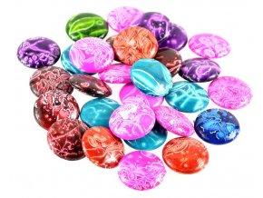 Korálky ploché, různobarevné s ornamenty