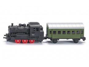 Parní lokomotiva s osobním vagónem