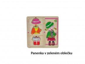 Puzzle dřevěné oblečky - panenka v zeleném oblečku - 6 ks
