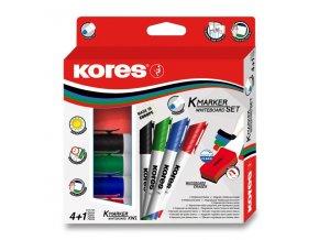 Sada Kores K-Marker Set - 4 popisovače + magnetická houbička