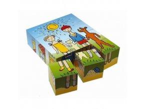 Dřevěné obrázkové kostky Pejsek a kočička 12 kostek