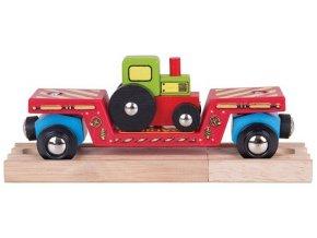 Vagonek vláčkodráhy Bigjigs - Vagon s traktorem + 2 koleje