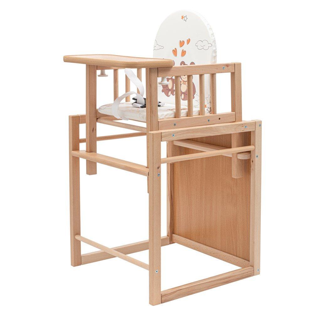 drevena detska stolicka so stolom z bukoveho dreva hneda