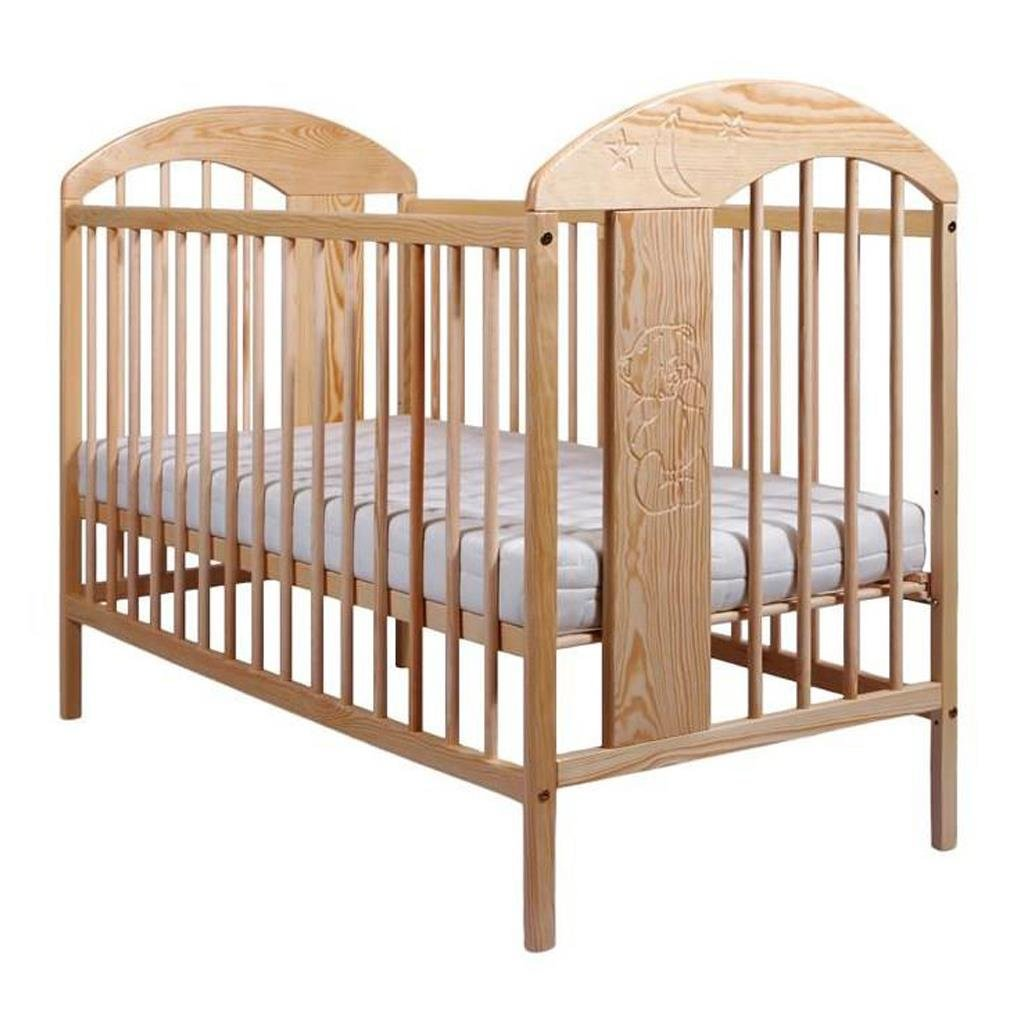 drevena detska postielka, postielka pre deti z borovicoveho dreva hneda, vyryty obrazok, s vyberatelnymi prieckami