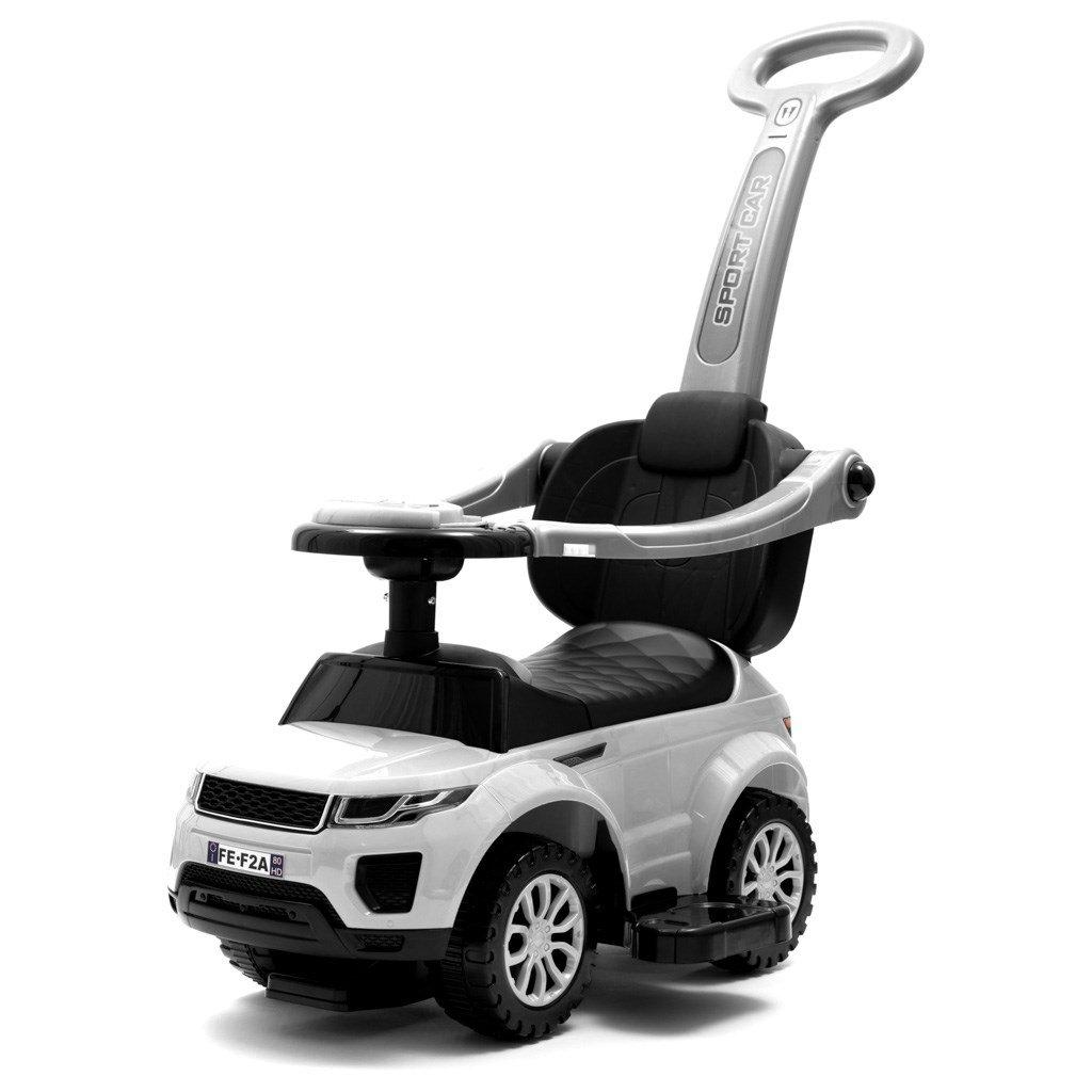detské odrážadlo s vodiacou tyčou biele