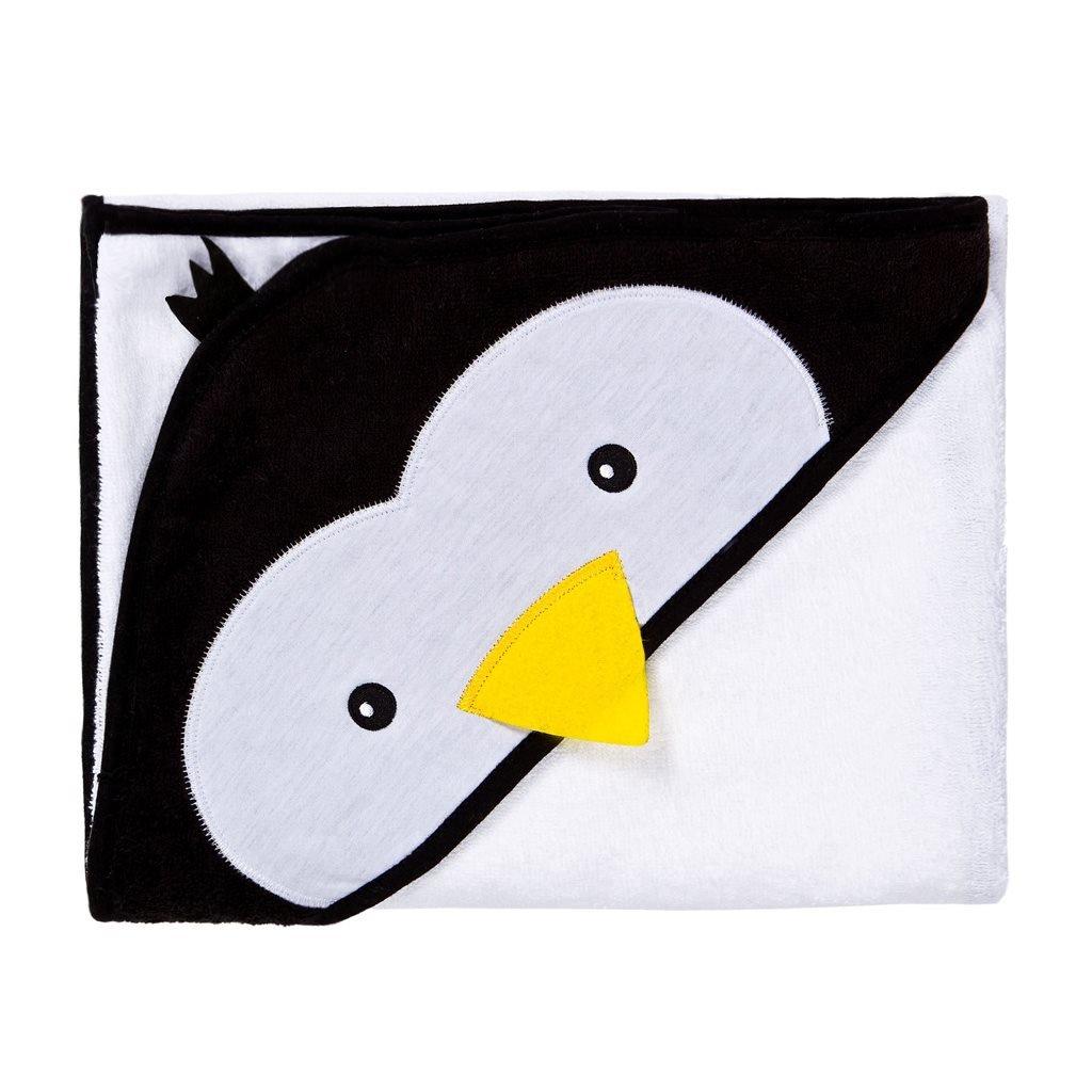 detská osuška s kapucňou Sensillo biela s tučniakom