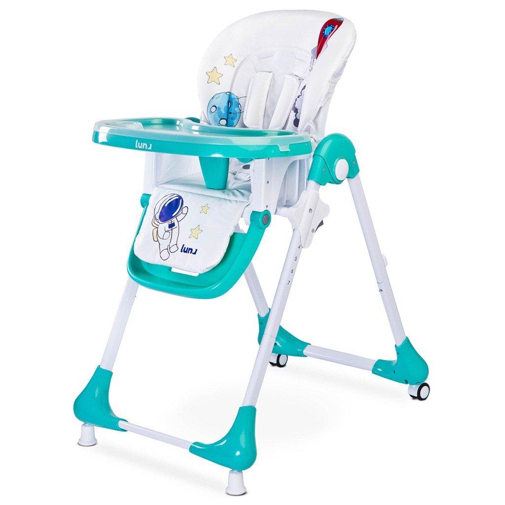 detska jedalenska stolička s kolieskami, zelena