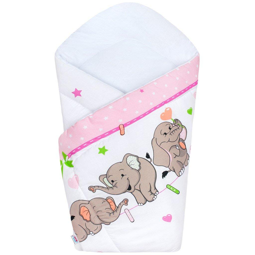 detská zavinovačka new baby ruzova sloníky