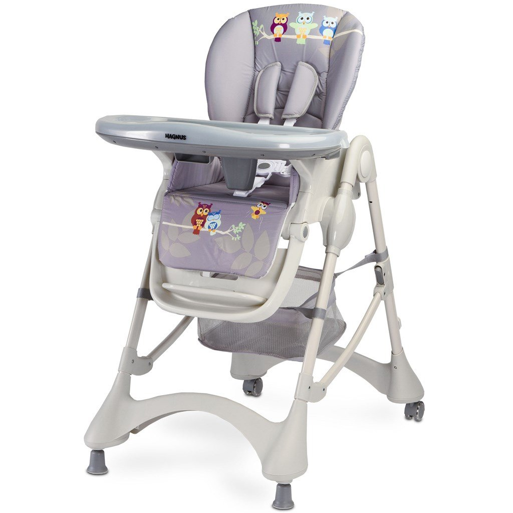 detska jedalenska stolička s kolieskami, siva s doplnkami