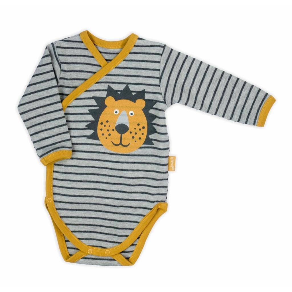 Dojčenské bavlnené celorozopínacie body Nicol Prince Lion