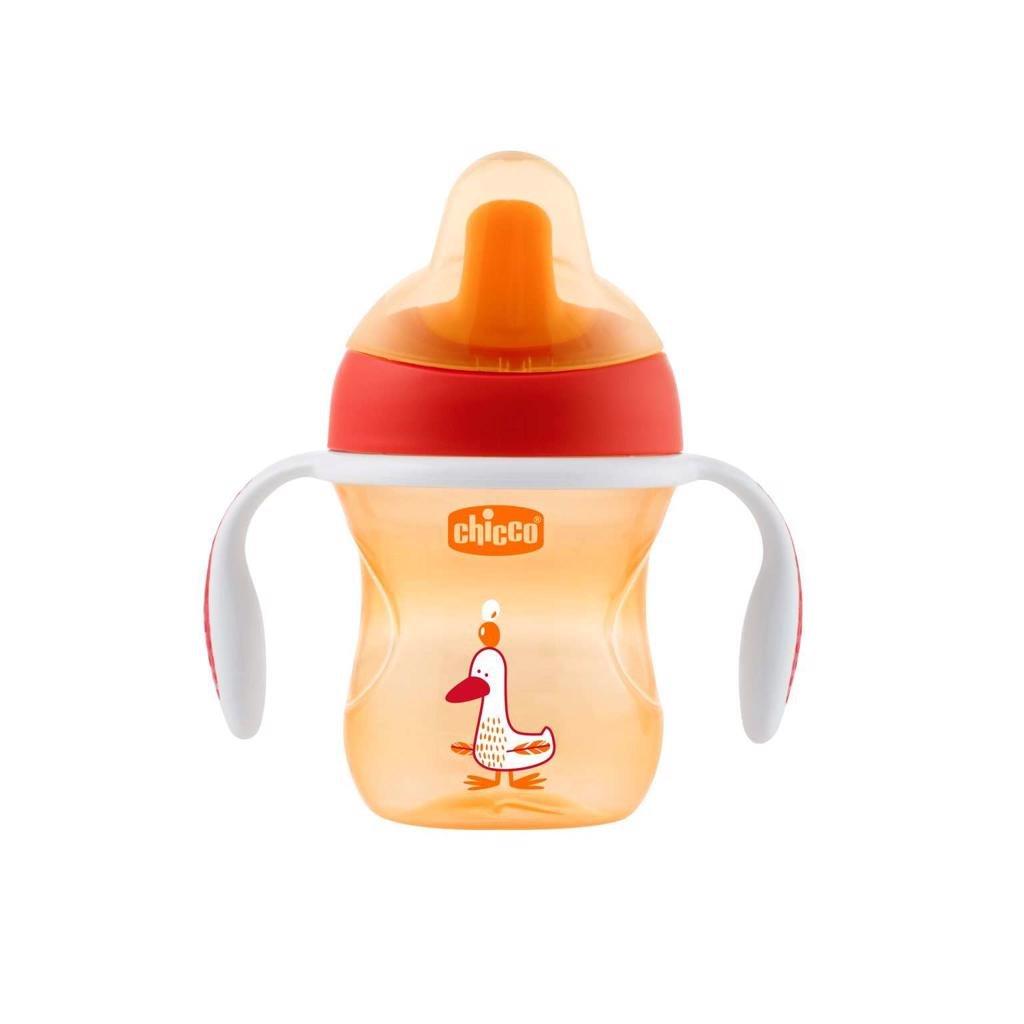 Hrnček Chicco Trénujeme s držadlami 200 ml, oranžový 6m+