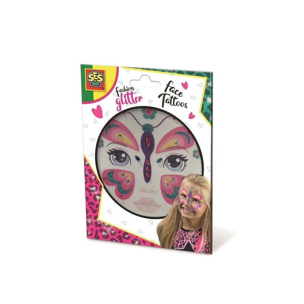 SES Trblietavé tetovanie na tvár motýľ